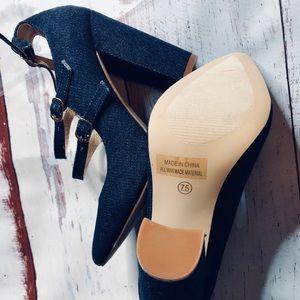 NWT Alba Blue Jean Heels Sz 7.5